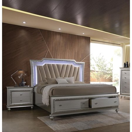 Champagne Finish Storage Queen Bedroom Set 3Pcs Acme Furniture .
