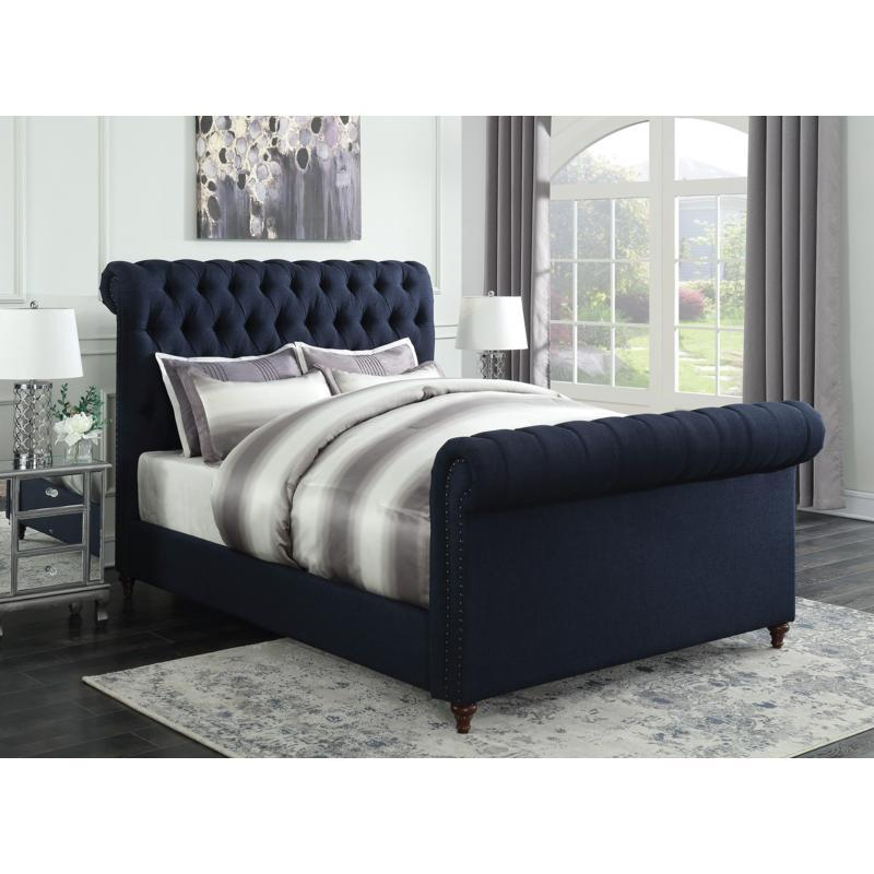 Navy Blue Upholstered Queen Size Bed With Nailhead Trim | Savvy .