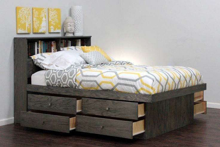 Modern Queen Bed With Storage Underneath And There Are Cushi