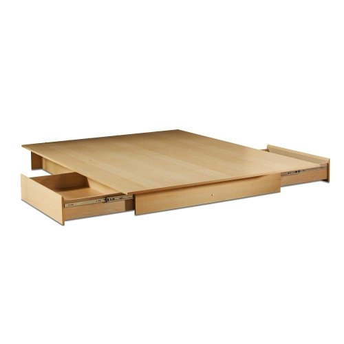Full/Queen Maple Platform Bed with 2 Storage Drawers .
