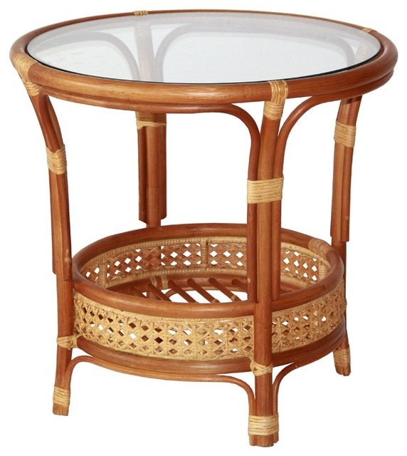 Pelangi Round Rattan Wicker Coffee Table With Glass - Tropical .