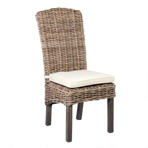 Driftwood Rattan Dining Chairs with Cushion Set of 2   World Mark
