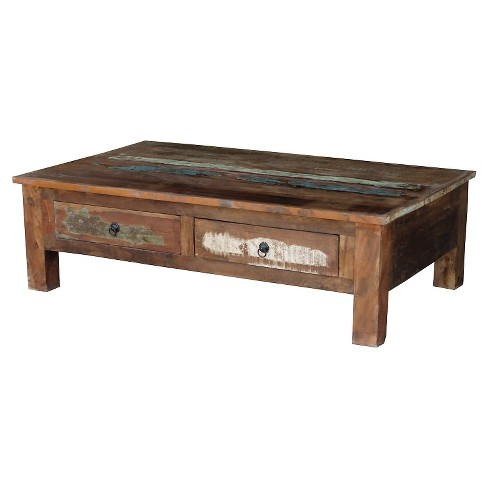 Reclaimed Wood Coffee Table And Double Drawers -Natural .