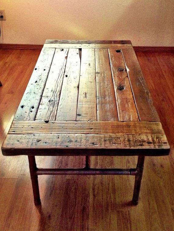 Reclaimed Wood Coffee Table with Copper Legs by ReclaimedWoodGoods .