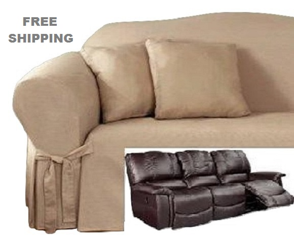 Reclining SOFA Slipcover Cotton Taupe Sure Fit Dual Recliner Cou