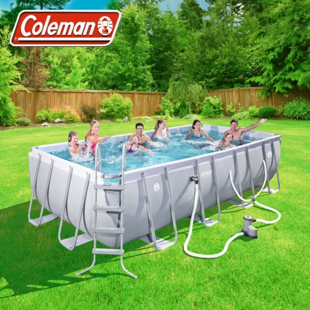Coleman 18ft Power Steel Rectangular Above Ground Swimming Pool .