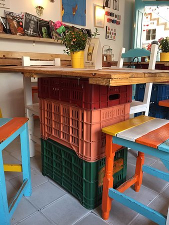 Recycled furniture, cheap but cool - Picture of Cafe Casu, Bogota .