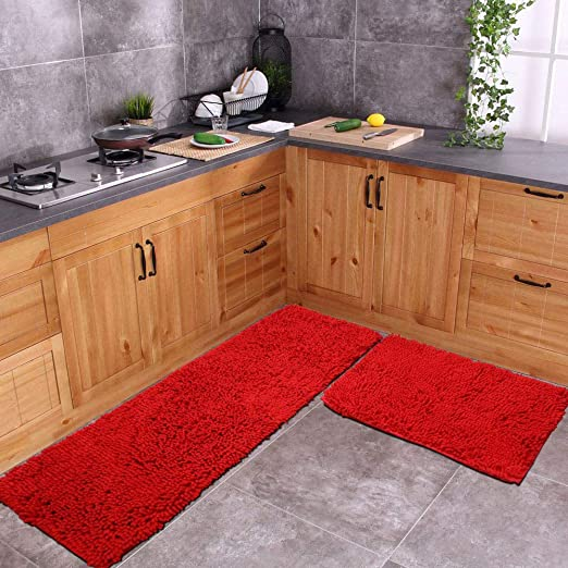 Amazon.com: Red Rug for Kitchen Shaggy Chenille Rugs 2 Pieces Set .