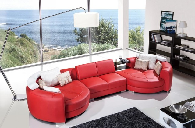 Modern Red Leather Sectional Sofa with Chaise - Modern - Living .