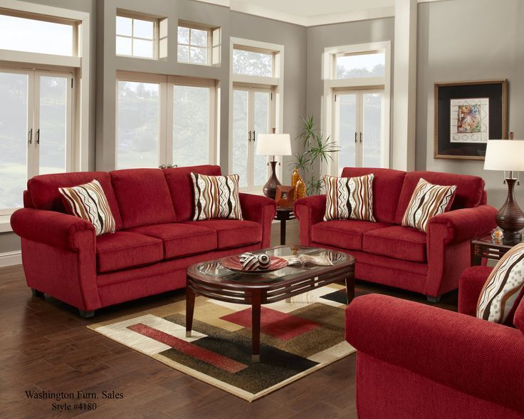 Red Sofa And Loveseat in 2020 | Red couch living room, Living room .