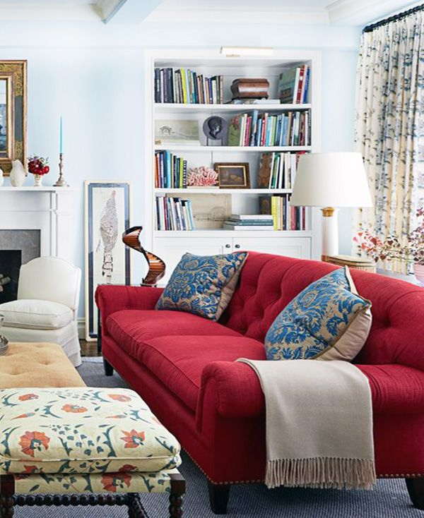 Red & White Living Room Decoration Ideas | Red sofa living room .