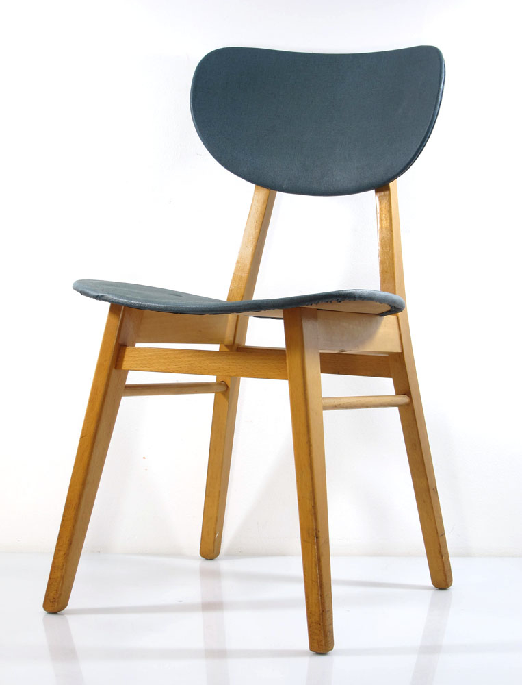 2 fifties design wooden dining chairs, vintage retro – B