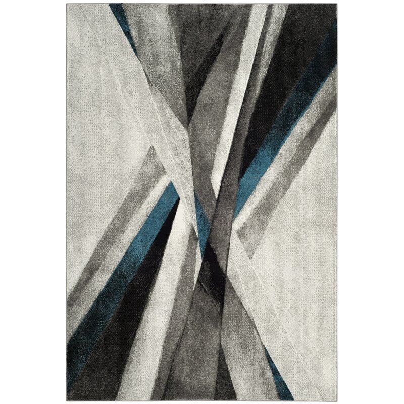 Orren Ellis Anne Abstract Gray/Teal Area Rug & Reviews | Wayfa