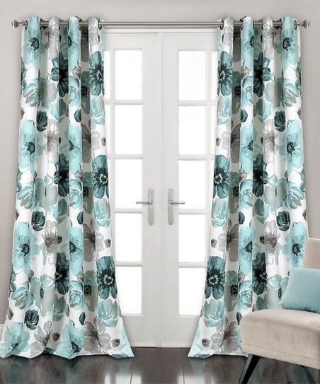 Blue Floral Leah Room-Darkening Curtain Panel - Set of Two | Zuli