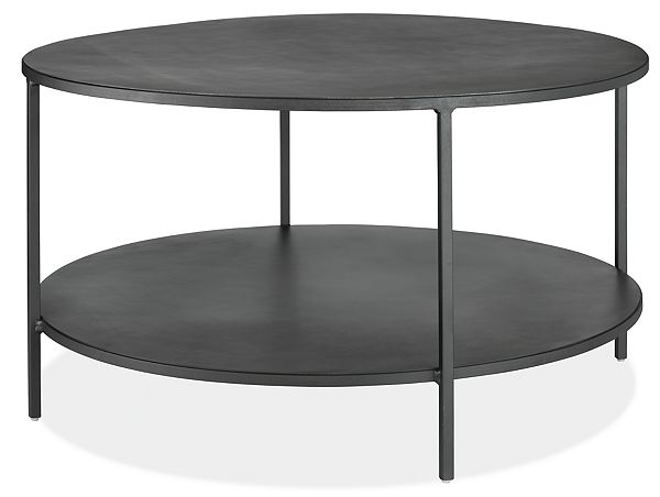 Slim Round Coffee Table in Natural Steel - Modern Coffee Tables .