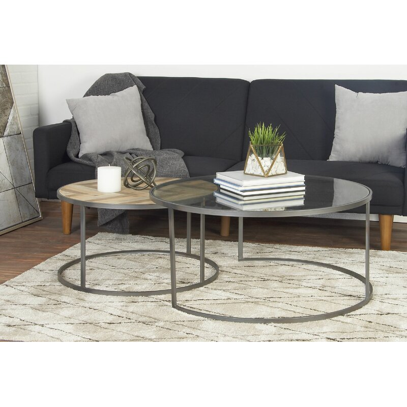 Union Rustic Orkney Contemporary 2 Piece Coffee Table Set .