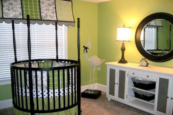 Boys Nursery Ideas With Round Crib And Green Wall Theme Pictures .