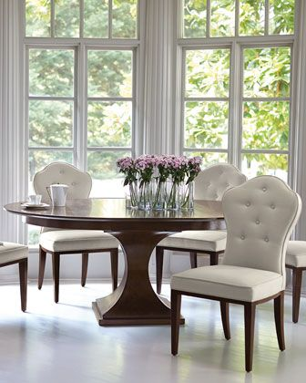 Bernhardt Haven 54 Round Dining Table with Leaf | Round pedestal .