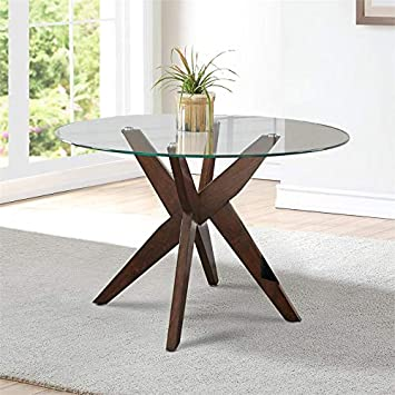 """Amazon.com - Steve Silver Amalie 48"""" Round Glass Top Dining Table ."""