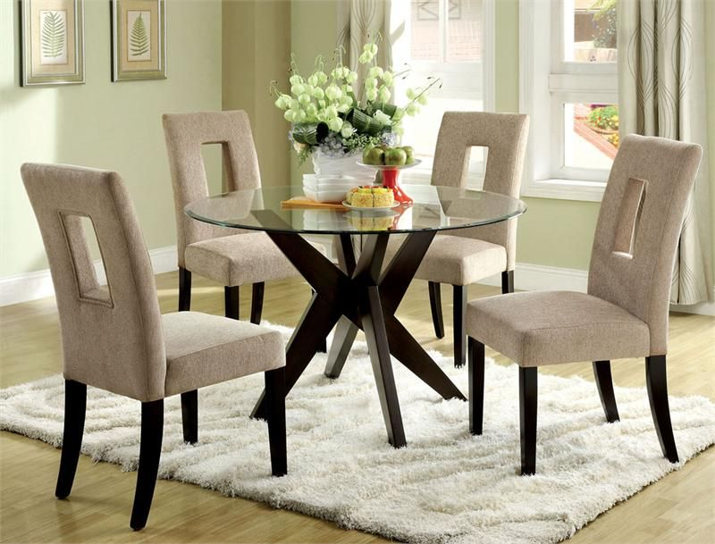 Round Glass Espresso Table Set | Glass dining room table, Round .