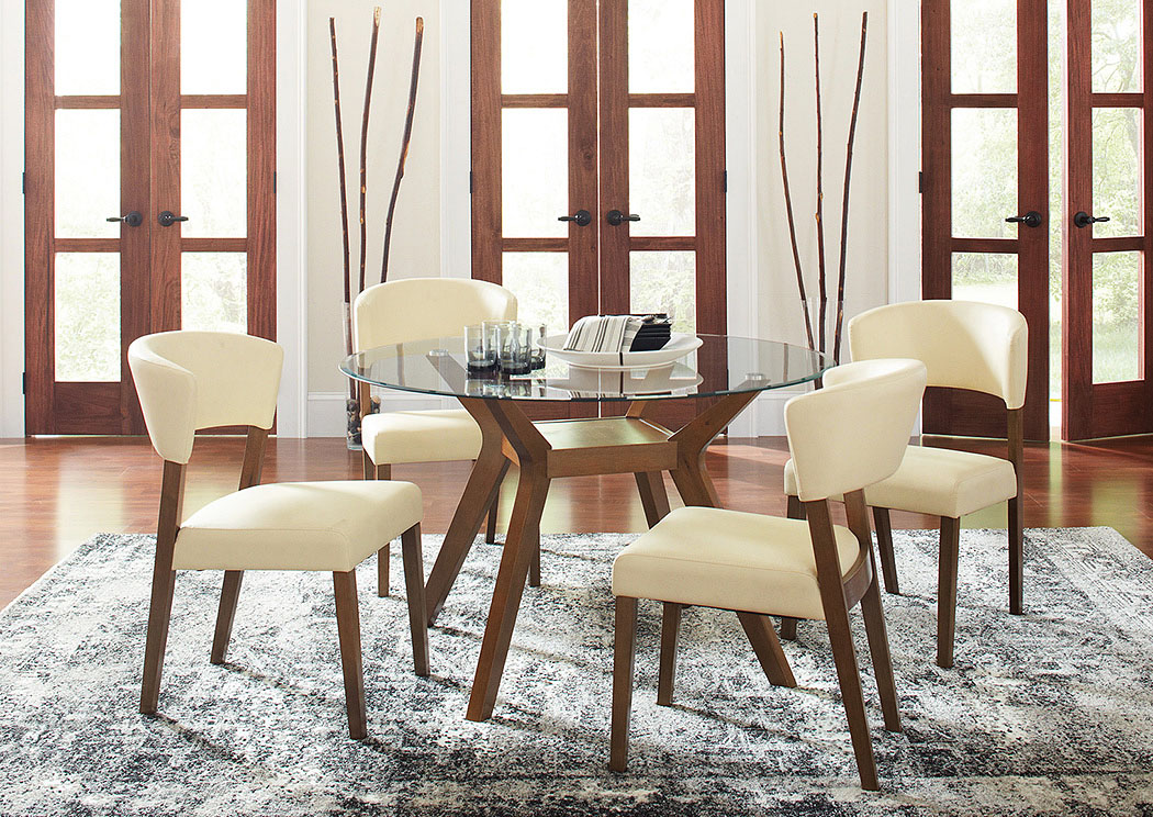 K & K Custom Furniture Paxton Nutmeg Round Glass Top Dining Table .