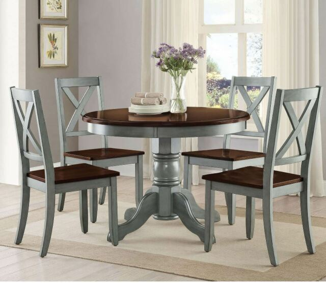 Farmhouse Dining Table Set Rustic Round Dining Room 5 Piece .