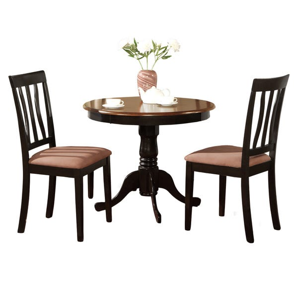 Shop Black Round Kitchen Table Plus 2 Dining Room Chairs 3-piece .