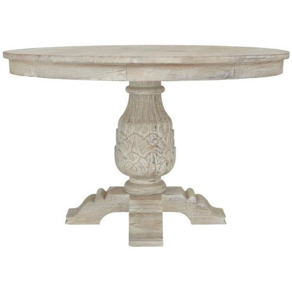 Home Decorators Collection Kingsley Sandblasted White Round Dining .
