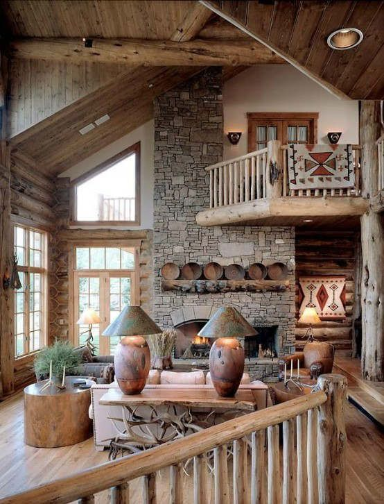 40 Awesome Rustic Living Room Decorating Ideas | Log home .