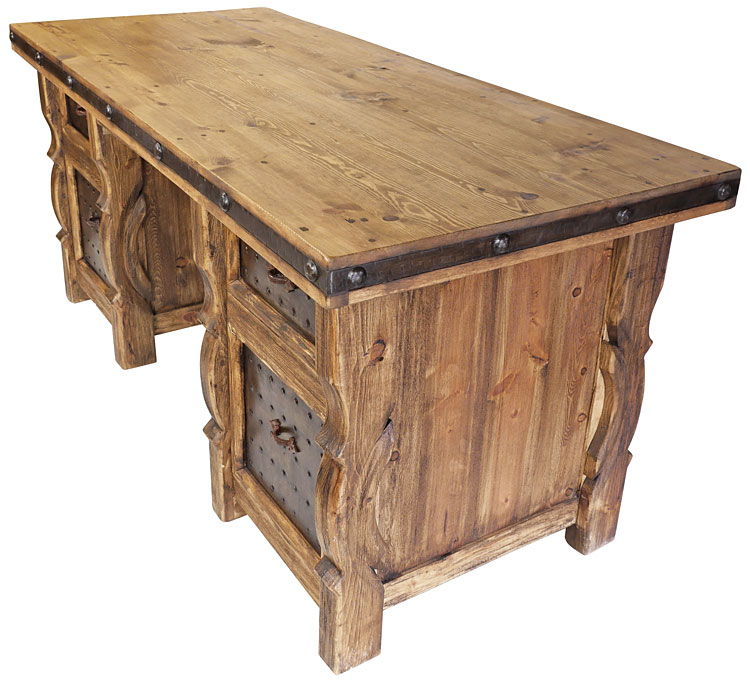 Rustic Wood Desk with Iron Panel Inse