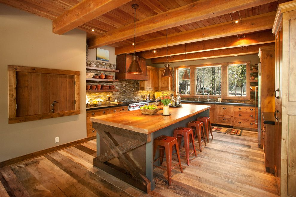 Fine Example of a Bright Rustic Kitchen Island — Office PDX Kitch