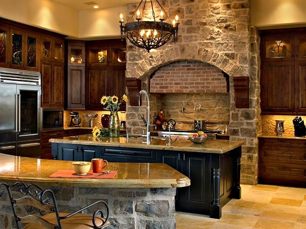 This Rustic #Kitchen has an amazing curved barstool eating area .