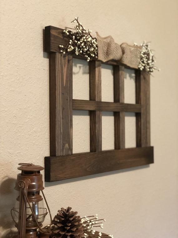 6 pane wood window frame Rustic wall decor Primitive wall | Et