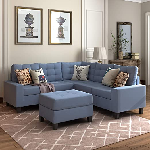 Amazon.com: MOOSENG, 3-Piece Sectional Furniture Set with Chaise .