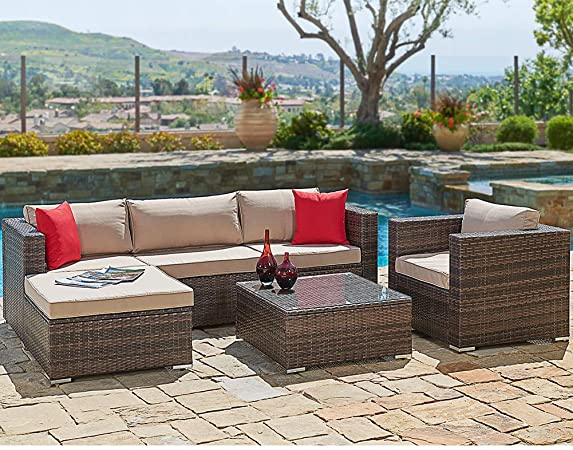 Amazon.com : SUNCROWN Outdoor Patio Furniture Sectional Sofa and .