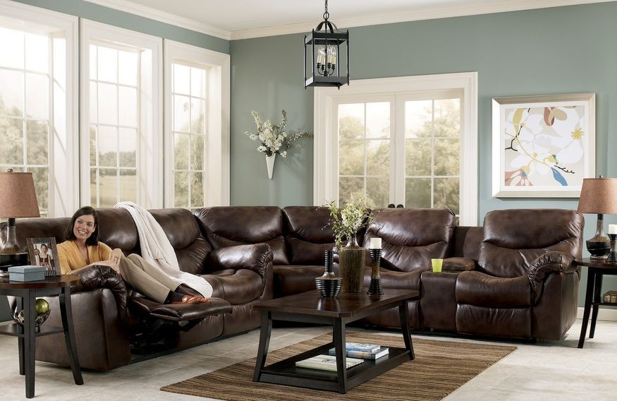 Furniture: Classy Dark Brown Leather Sectional Couch Design Ideas .