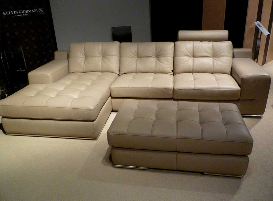 Fiore Sofa Sectional Leather Beige | Sectiona