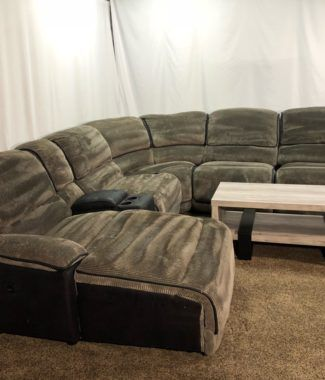 Secondhand 6 Piece Grey And Black Corduroy U-Shaped Reclining .