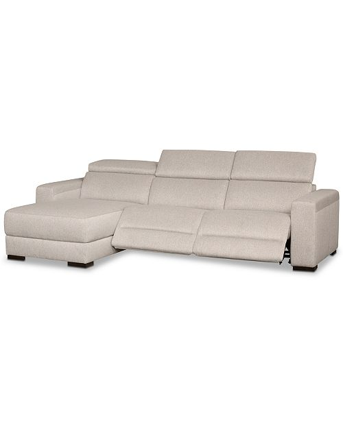Furniture Nevio 3-Pc. Fabric Sectional Sofa with Chaise, 2 Power .