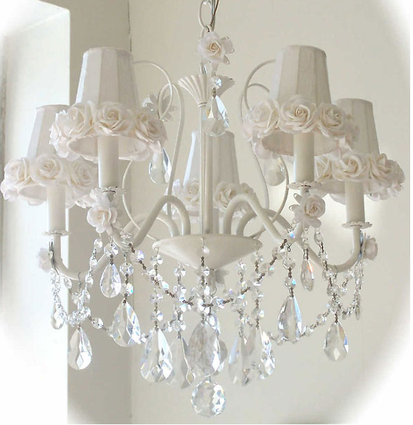 VINTAGE ROSES - shades transformed | Shabby chic chandelier .