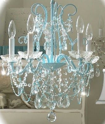 Turquoise and Chandeliers…a perfect pair! | Vintage shabby chic .