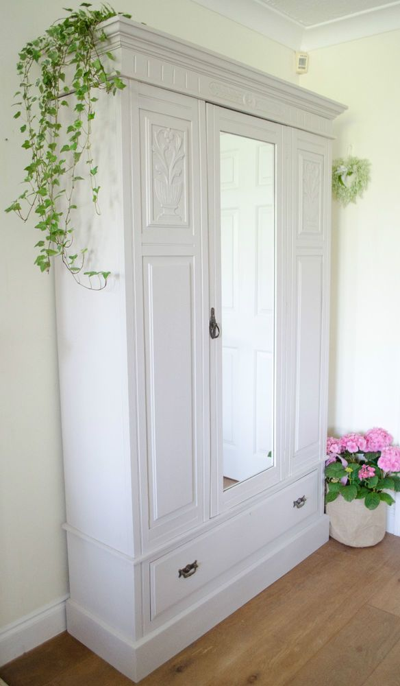 Antique Victorian Shabby Chic Wardrobe / Armoire Painted in Farrow .