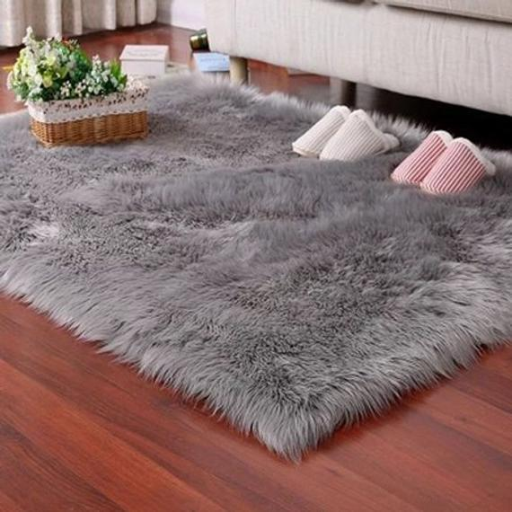 Gray Faux Fur Rug Soft Fluffy Rug Shaggy Rugs Faux Luxury | Et