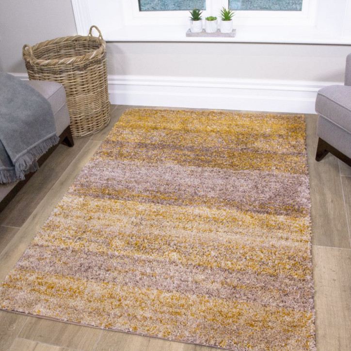 Mustard Striped Shaggy Rug - Murano | Kuko