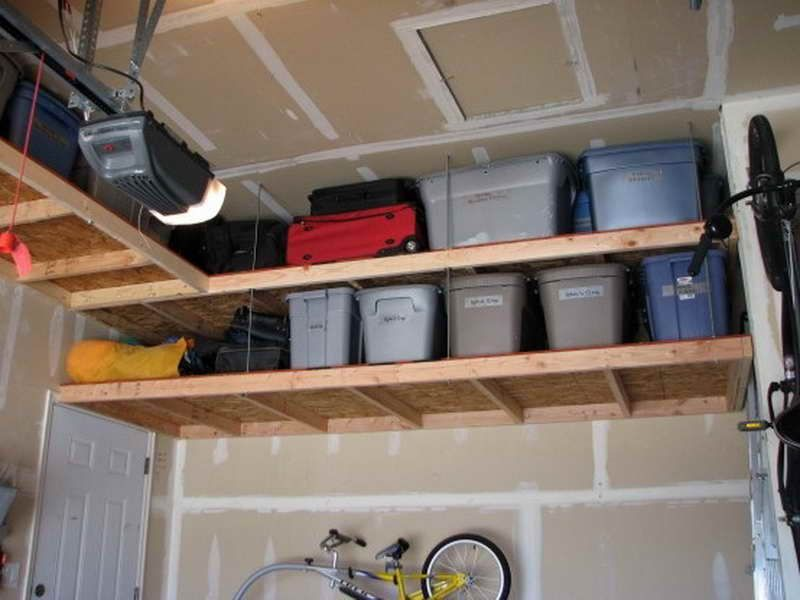 Overhead Shelving Ideas for Garage (With images) | Diy overhead .
