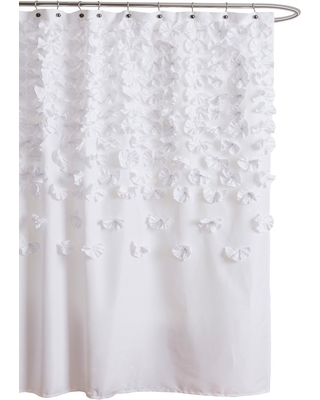 New Savings on Lucia Scattered Flower texture Shower Curtain .