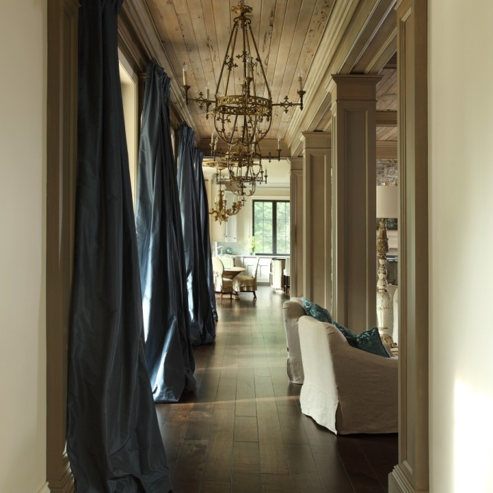 Blue Silk Curtains - Transitional - living room - The Iron Ga