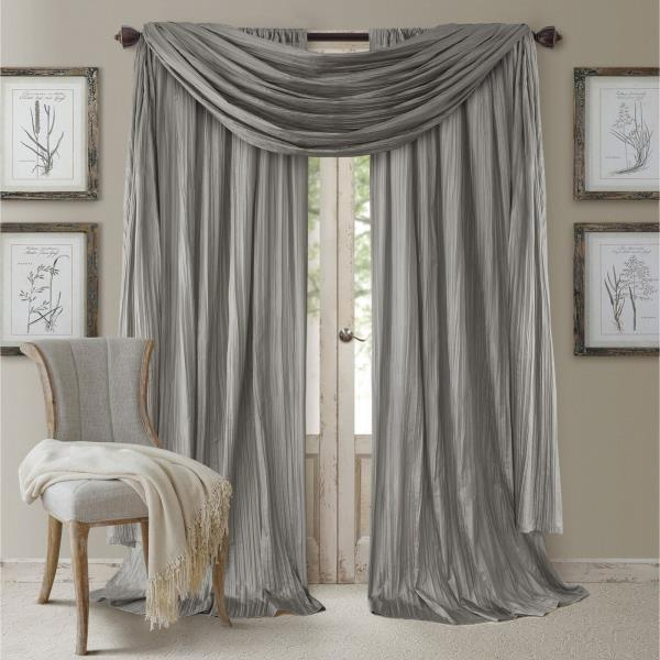 Set 2 Silver Gray Faux Silk Curtains Panels Drapes Pair WITH SCARF .