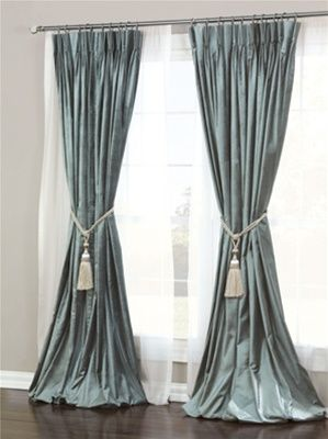 Almost Blue-Silver Curtains. Love the way they flow out at the .