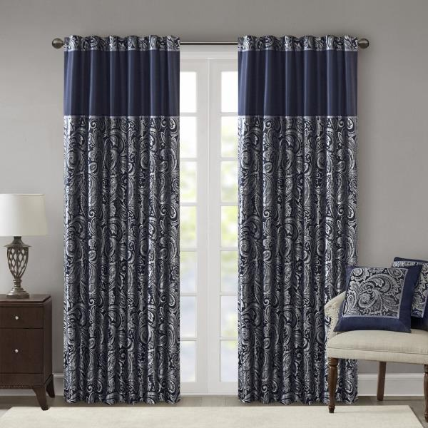 Set 2 Navy Blue Silver Paisley Curtains Panels Drapes 84 95 108 in .